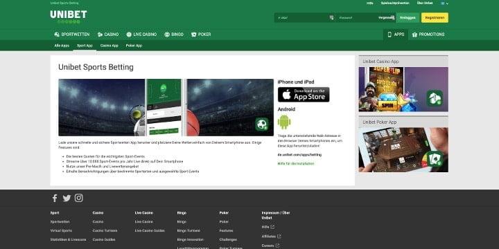 Unibet Sportwetten App